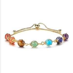 Crystal Stones Bracelet Beaded 14K Gold